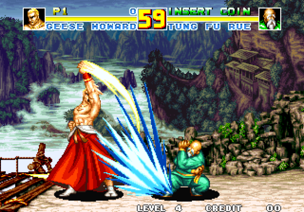 A screenshot of Tung Fu Rue blocking Geese Howard's Reppuken special move