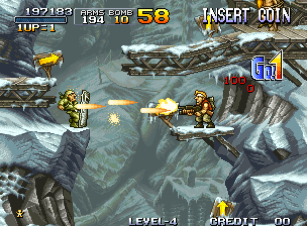 A screenshot of Marco Rossi on a precarious ledge, shooting an enemy soldier