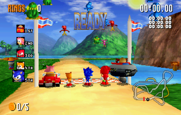 A screenshot of Sonic, Tails, Knuckles, Amy and Robotnik at the starting line